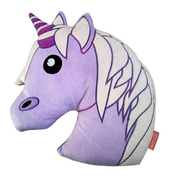 Purple unicorn plush shaped cushion
