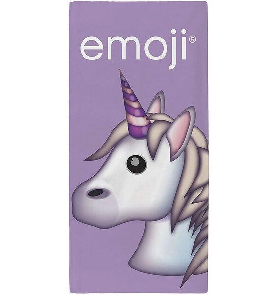 unicorn emoji face towel in purple
