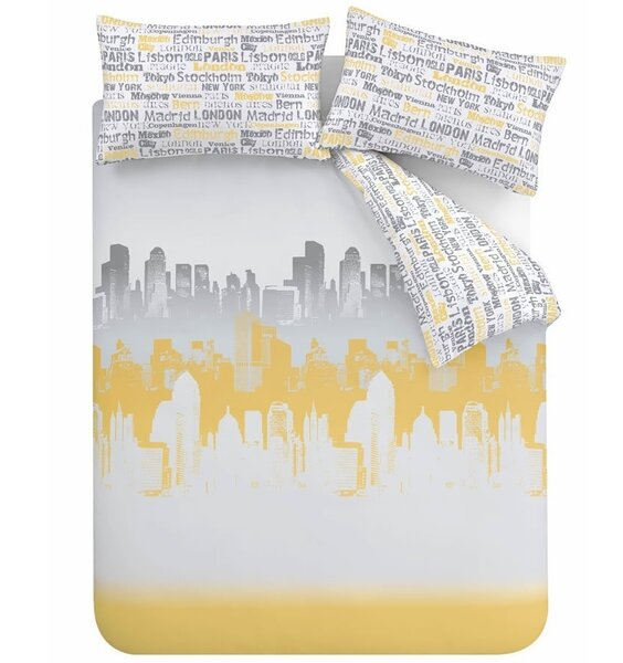 City scape silhouette in yellow and grey