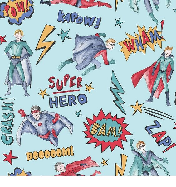 super hero's all over with cartoon words
