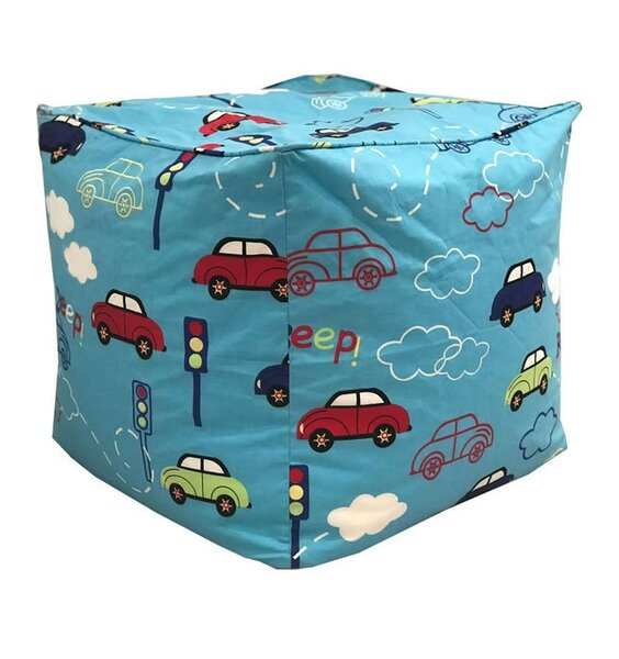 Child's Blue, Car Themed Bean Cube. Colourful Cars, Traffic Lights and Clouds on a Blue Background
