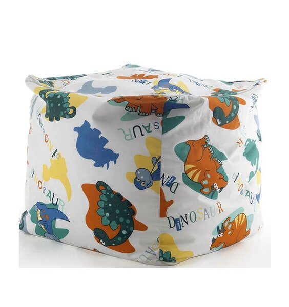 Colourful dinosuars pattern this white, child sized bean cube.
