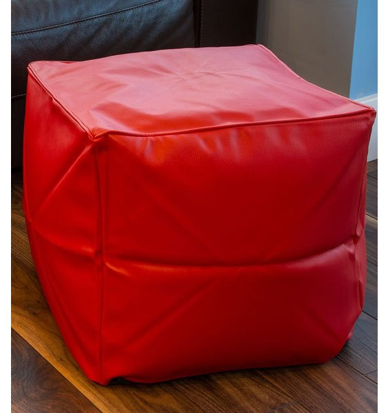 Red Faux Leather Bean Cube