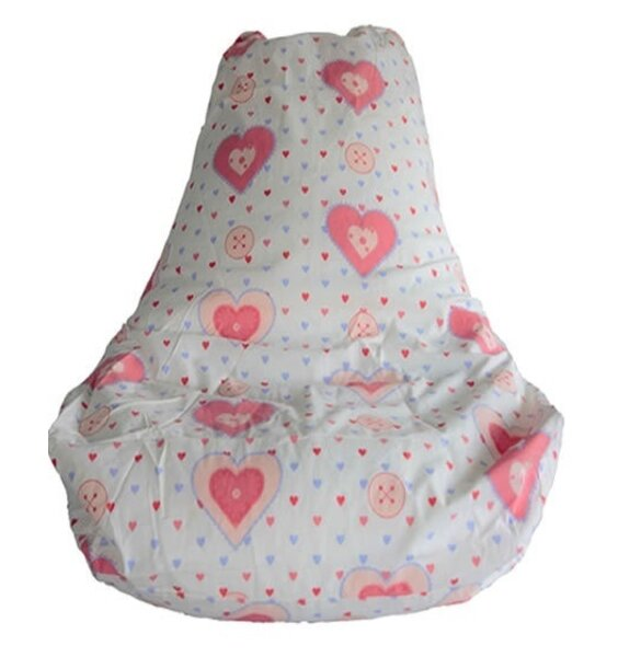 White High Back Gaming Bean Chair for Girls. Patterned with pink and blue lovehearts