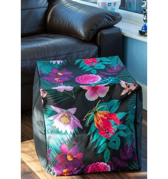 Waterproof, Indoor or Outdoor, Black Floral Bean Cube
