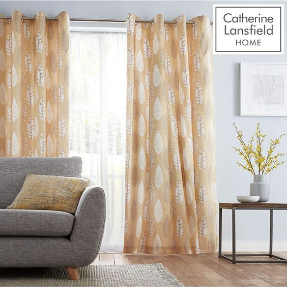 Catherine Lansfield Stockholm Leaves Curtains - Ochre 54s
