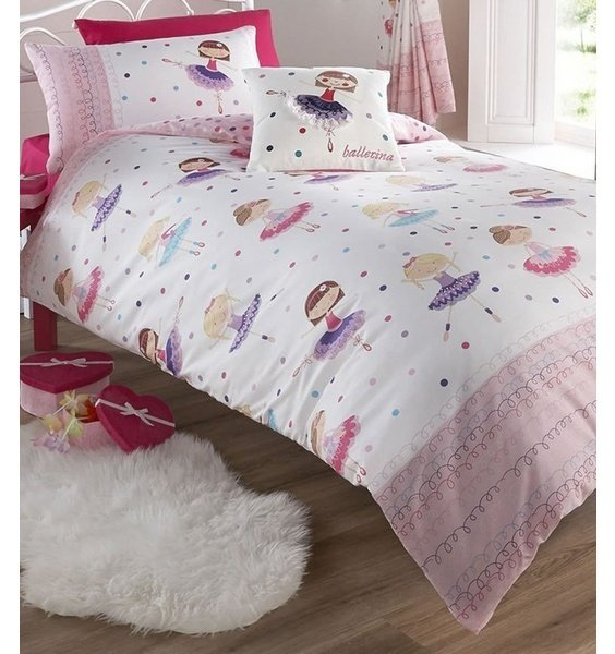 Pink and White Bedding Pretty Ballerinas Dancing Across the Multi Coloured Polka Dots.