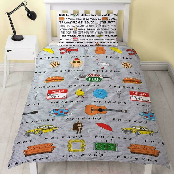 Friends Duvet Covers. The reverse has famous sayings across the bedding. The front has iconic artefacts from the show.