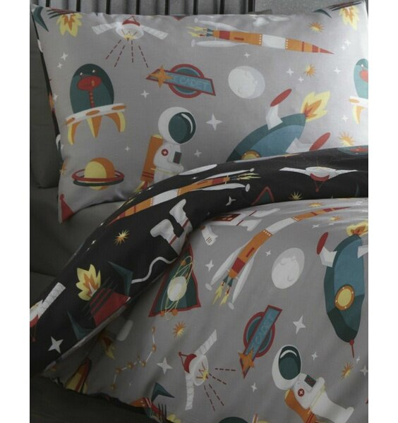 Spaceman Grey With Black Reverse Side - Double Bedding