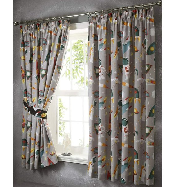 Spaceman And Rockets Curtains 54s