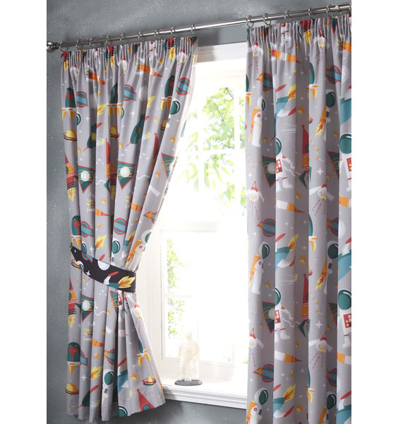 Spaceman And Rockets Curtains 72s
