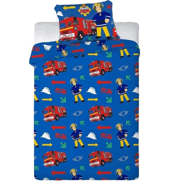 Blue, Fireman Sam Bedding Set. Images of Sam, Fire Engines, Hard Hats and Colourful Arrows.