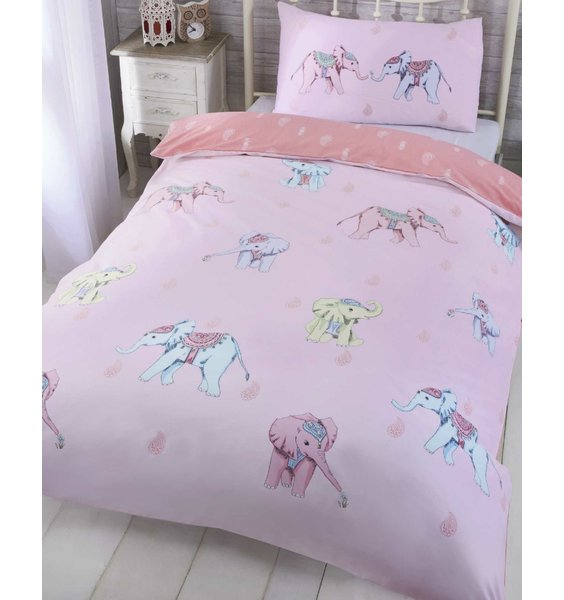 Pale pink with pastel pink, blue & lemon elephants. The reverse is salmon pink with a feather design.