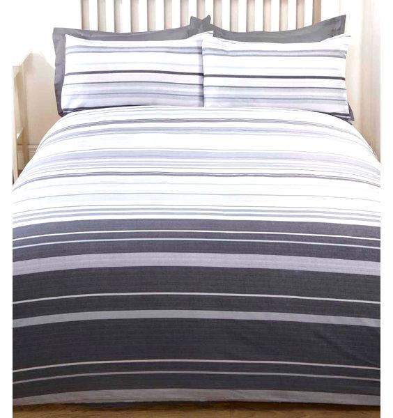 Grey Stripe Double Duvet - Stratford