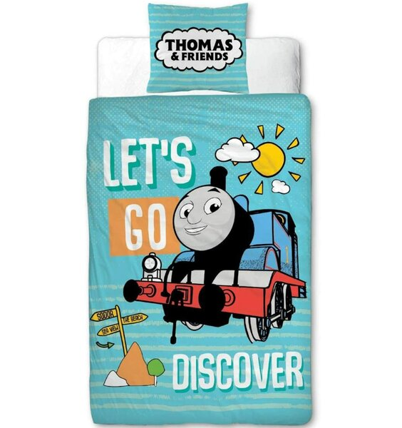 Thomas the Tank Engine Blue Bedding with Thomas and 'LET'S GO DISCOVER'