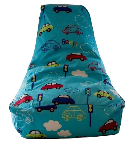 Blue, Child Sized Gaming Bean Bag. Patterned with Colourful Cars, Traffic Lights and White Clouds.
