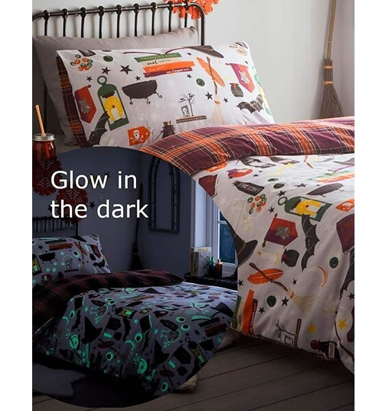 Glow in the Dark Duvet Bats, Spell Books, Potions, Broomsticks and Hat. Red and Orange Tartan Reverse.