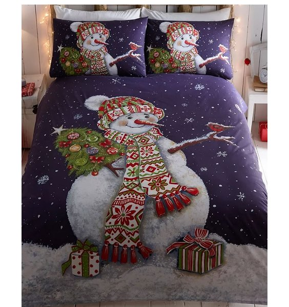 Happy Snowman, Christmas Themed Single Bedding