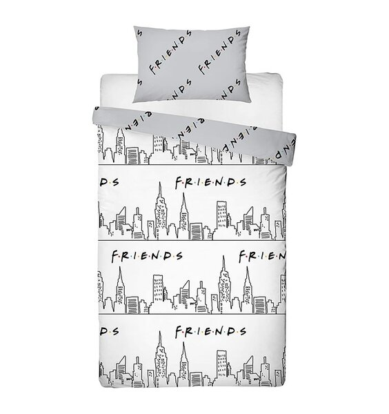 White and grey, Friends Scene duvet cover. Iconic New York Skyline Sketch Drawing and a Grey Reverse.