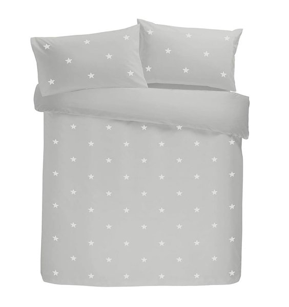 Pale grey duvet set patterned with 'tufted' embroidered on stars.