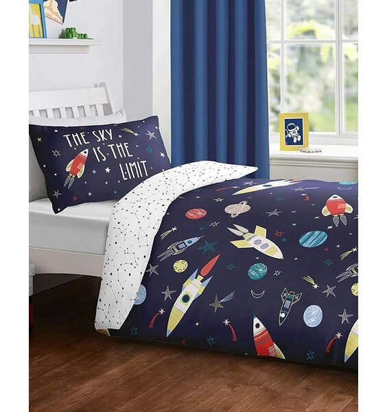 Space Themed Duvet Covers. Dark Blue with Rockets and Planets. White Reverse Patterned with Constellations