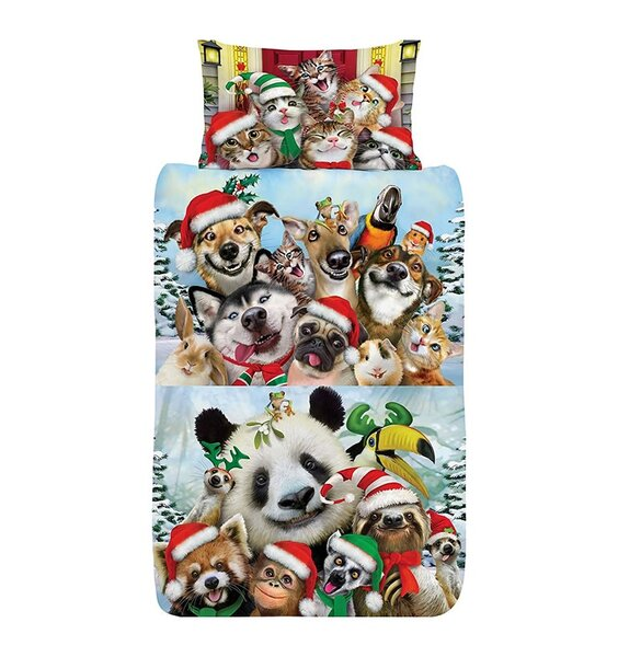 Animals Selfies Christmas Double Duvet Cover