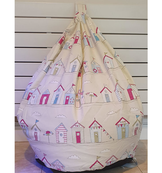 Beach Huts, Seaside Themed, Large, Adult Sized Bean Bag