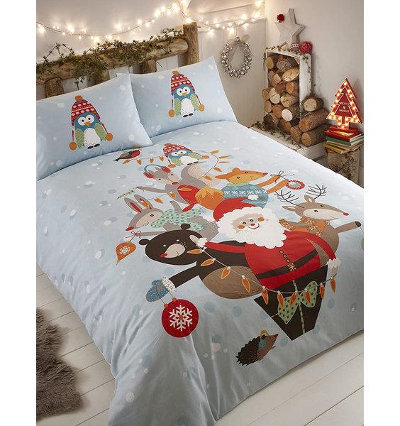 Fur Tree Single Duvet Set. Kids Christmas Bedding