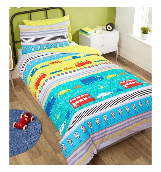 Children's Transport Bedding Set. Blue and Yellow with Cars, Bikes, Busses & Traffic Signs.