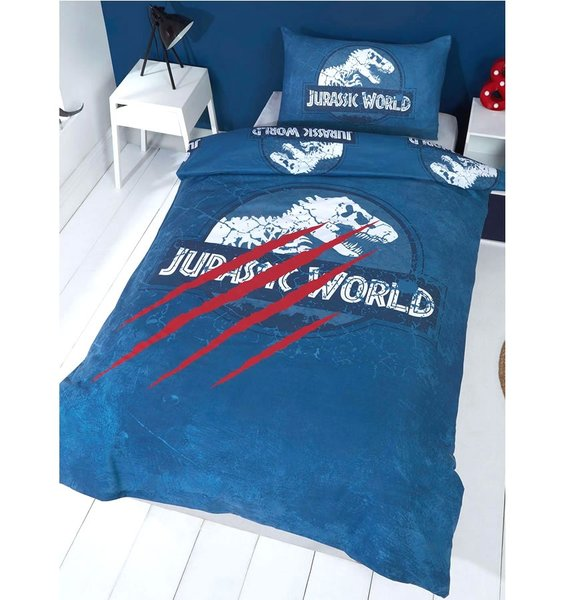 Blue, Jurassic World Single and Double Duvet Sets. Red Claw Strikes against a Skeletal T Rex.