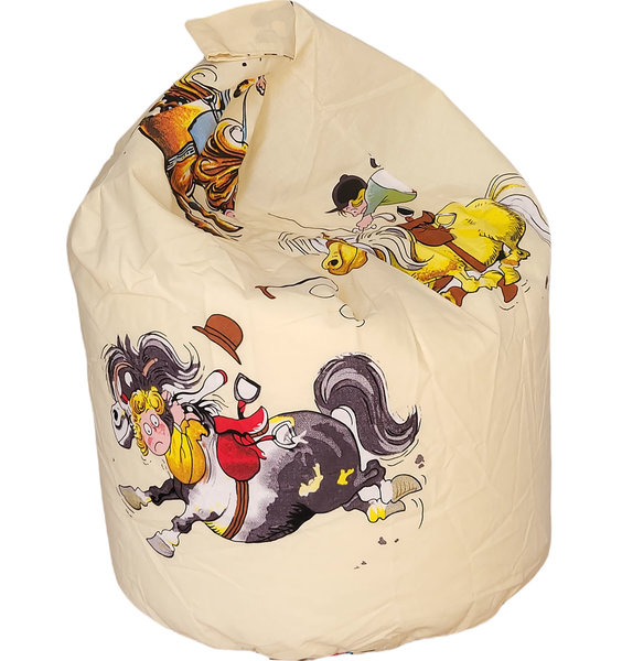 Small, cream bean bag featuring cute ponies and riders from the Thelwell stable.