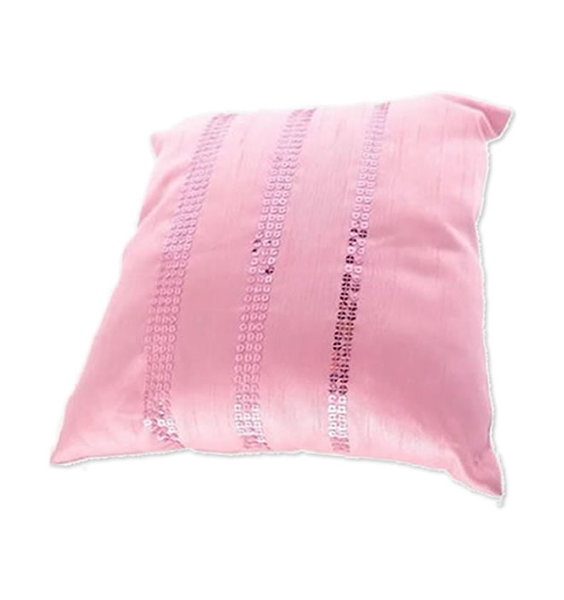 Small bubblegum pink satin effect cushion with 3 rows of pink sequins.