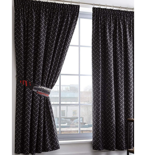 Toxic Glow in the Dark Black and Grey Curtains 72s