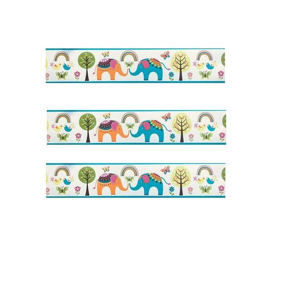 Elephants and Trees Wallpaper Border