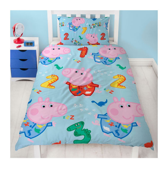 Pale blue, Peppa Pig Duvet Cover with Peppa among colourful numbers.