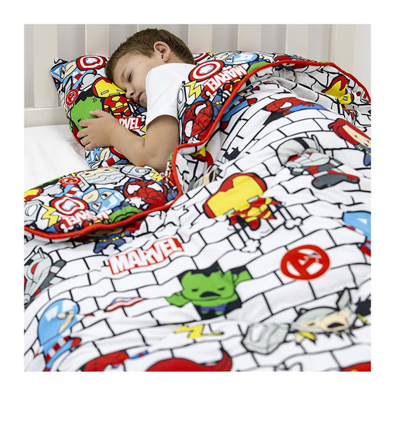 Marvel, Coverless Quilt, patterned with Japanese style Marvel Heroes on a white background.