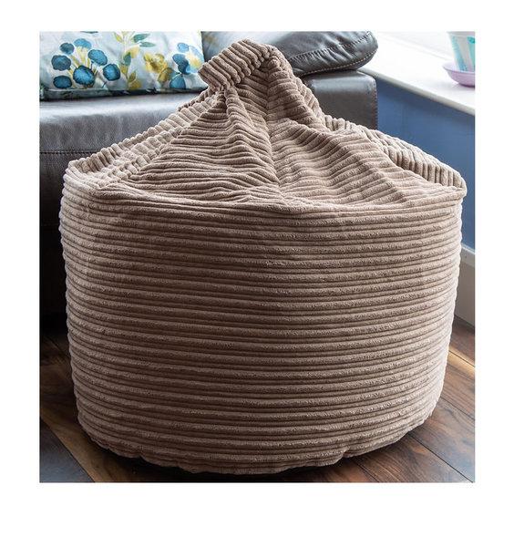 Brown Rib Velor, Large Bean Bag