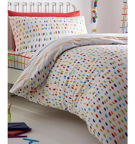 White duvet cover and pillowcase. One side patterned with small, multi coloured splodger and the reverse with stripes.