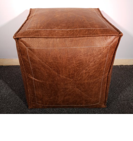 Super Soft Faux Aged Leather bean cube or Footstool