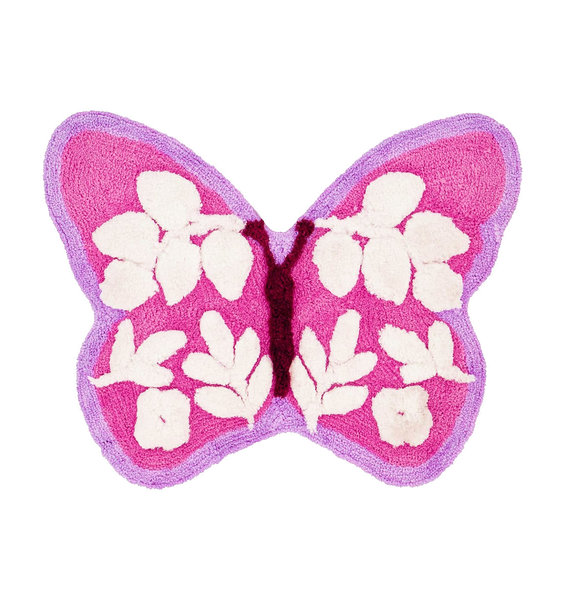 Pink, Lilac and White Butterfly Shaped Rug. White Leaf Shaped pattern in the Wings.