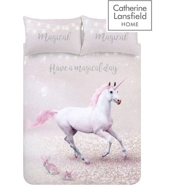 Large White Unicorn and 2 pink bunny unicorns on a pink and white background