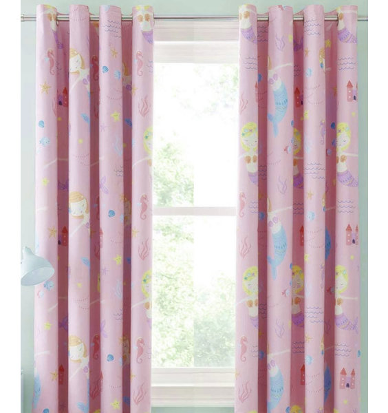Catherine Lansfield Lets Be Mermaids Blackout Curtains Set 72s