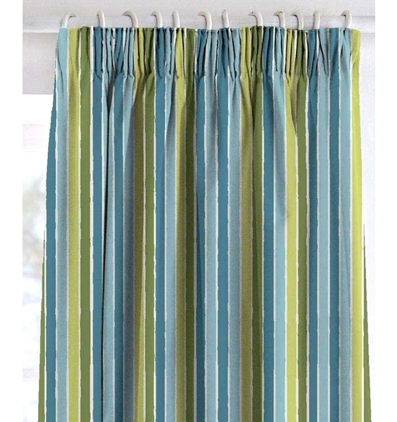 Green and blue with white stripes