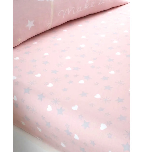 Pink fitted single sheet patterned with grey stars and white lovehearts.