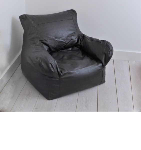 Large black faux leather bean chair