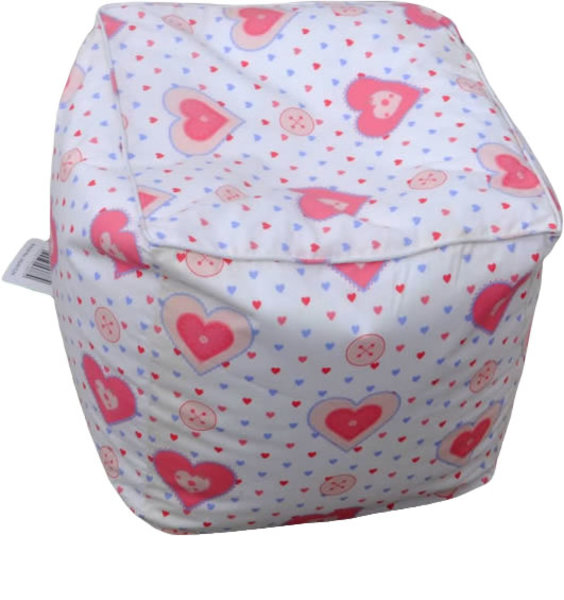 Small, White Bean Filled Cube For A Little Girl. Pink Piping to the Seams and Patterned With Pink and Blue Lovehearts.