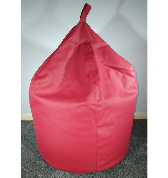 Large, Brick Red, Faux Leather, traditional bean bag with carry handle