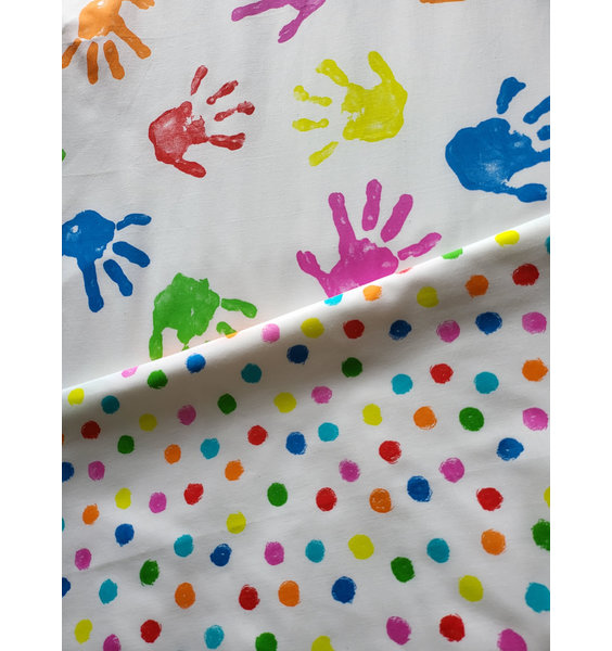 White Toddler Bed Set Patterned With Colourful Toddler Hand Prints With a Reverse Of Messy Dots