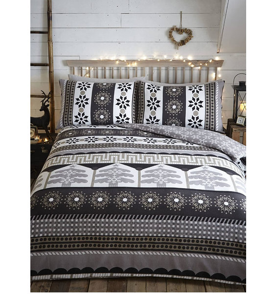 Aspen Nordic Christmas Super King Bedding, Charcoal - 100% Brushed Cotton