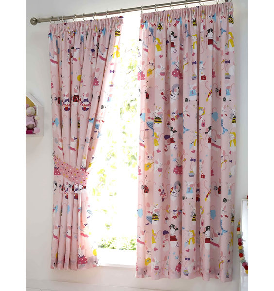Girls pink bedroom curtains patterned with all her favourite things, cute animals, ribbons, mermaids, bags etc.